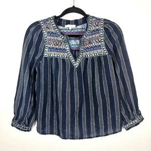 Lulumari Embroidered Boho Peasant Blouse